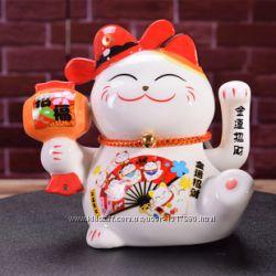 Счастливый кот Манеки Неко Кошка удачи статуэтка Манэки Нэко