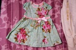 Платье красивое летнее Gee Jay, мята с цветами