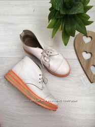 Стильные ботинки туфли кожаные, криперы, платформа, танкетка