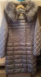 Пальто стеганноепуховое с вышивкой