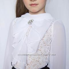Блуза гипюр и шифон, нарядная, красивая, хороший пошив, 122, 140, 146, 152