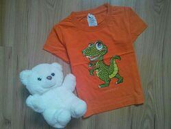Яркая коттоновая футболка с крокодильчиком на 2 - 4 года.