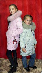 Стильное теплое зимнее пальто для девочек 6 - 10 лет