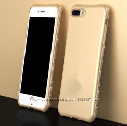 Мягкий женский чехол с камнями Сваровски для iPhone 6 6S 7 7плюс 8 8плюс
