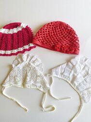 Качественная плетеная белая шапочка шапка девочке на 12-24 мес Gymboree