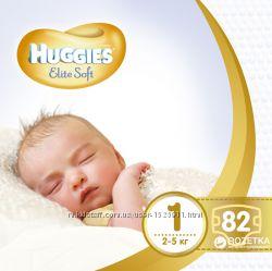Huggies Elite Soft 1-82, 2-80 памперс, подгузники