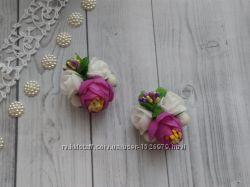 Заколка с пионом и розами. Цена за комплект