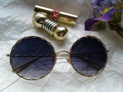 Очки круглые стильные золотая оправа Италия