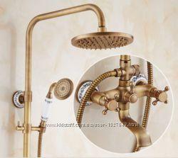 Душевая стойка с верхним душем для ванной со смесителем и лейкой 0185