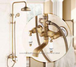 Душевая стойка в ванную со смесителем краном лейкой и верхним душем бронза