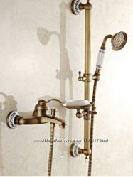 Смеситель кран с лейкой, штангой и мыльницей, бронза в ванную 0151