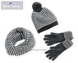 теплый комплект, шапка с помпоном шарф снуд перчатки, Blue Motion Германия