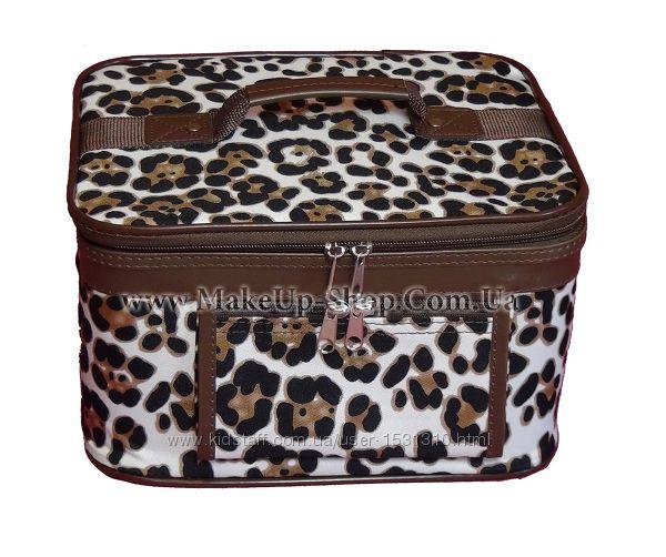 Большой кейс для косметики коричневый леопардовый