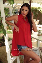 Блузка рубашка удлиненная безрукавка