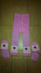 Новый красивый комплект лосины и носочки на девочку, рост 98 см.
