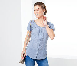 Легкая. воздушная блузка с романтическоой ноткой из хлопка tchibo