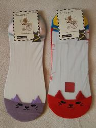 Женские хлопковые носки-следы с прозрачным верхом сетка