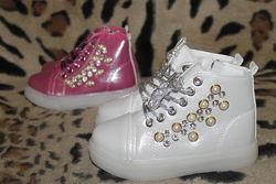 Демисезонные ботинки сапоги хайтопы для девочки с LED подсветкой 25-30