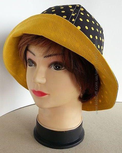 Женская шляпка. Летняя. Штапель. Желтые горохи на черном