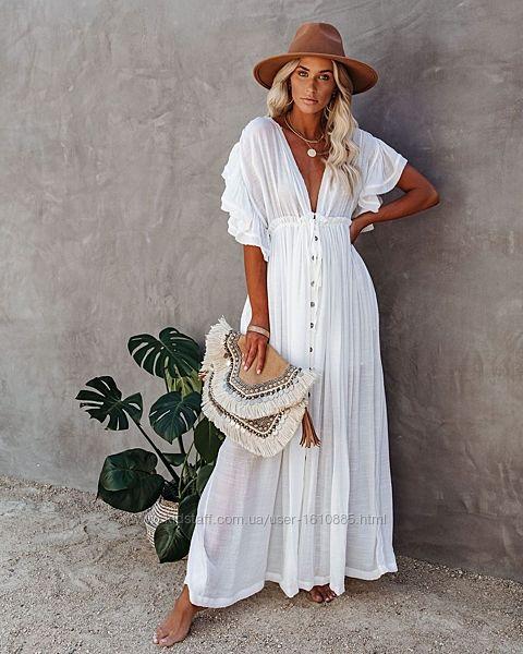 Пляжное платье белое валон / Сукня на пляж біла , хаккі , чорна .