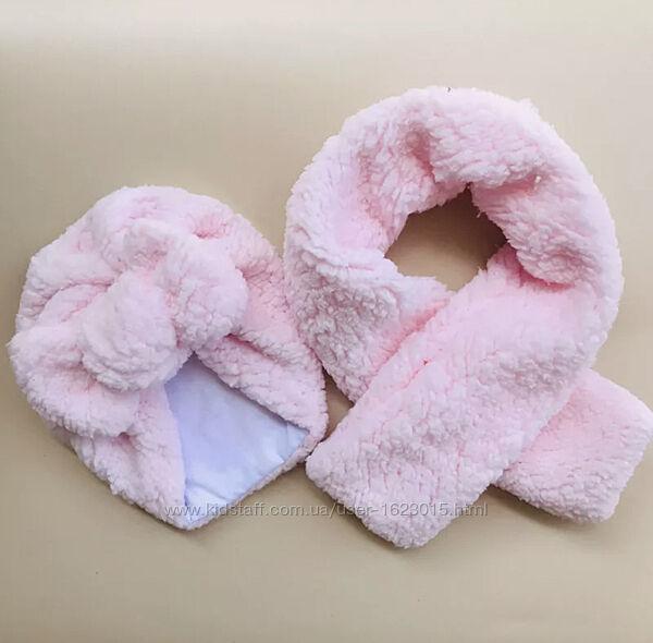 Детская шапочка с бантом чалма тюрбан комплект тёплый зимний шарф
