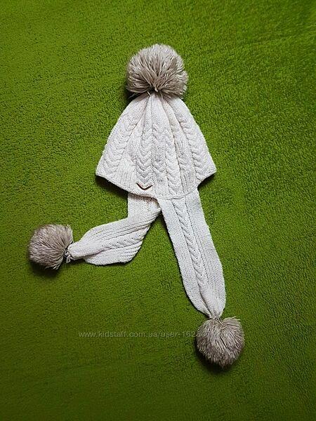 Тёплая двойная вязанная шапка для девочки с Ог 52-54 см, подкладка флис