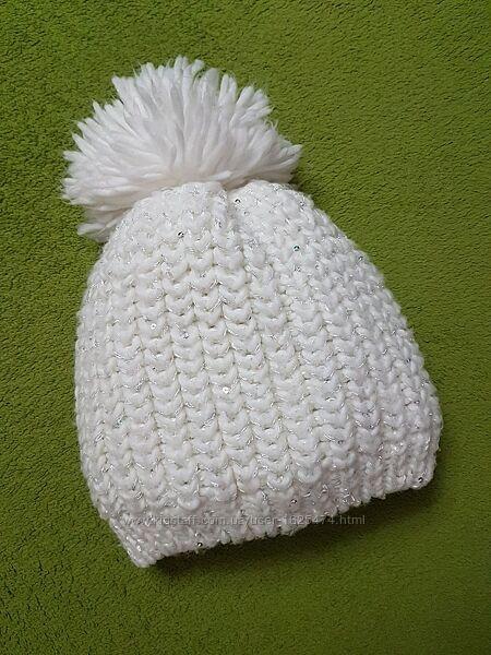 Теплая шапка с помпоном для девочки с ОГ 54-56 см, Place, пайетки, флис