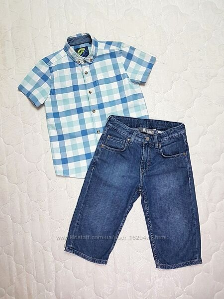 Качественная рубашка с коротким рукавом для мальчика 128 см, Tu, хлопок