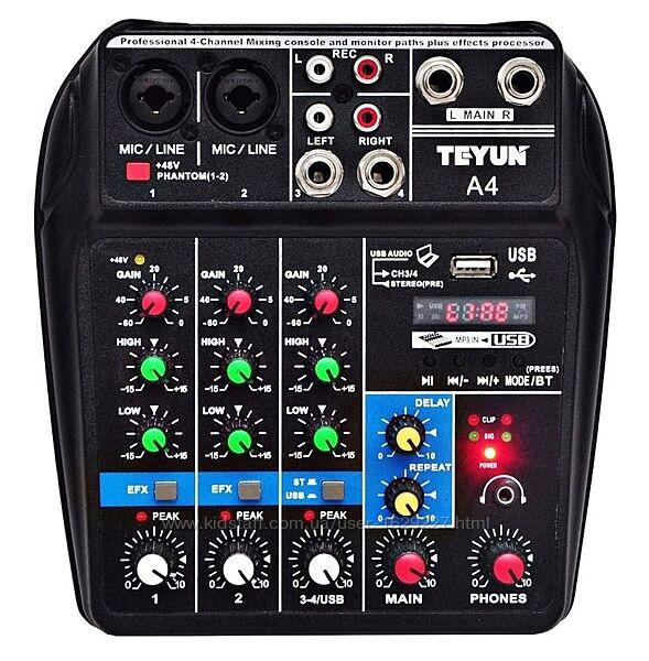 Teyun A4 микшерный пульт 5v Bluetooth Usb звукова карта аудиоинтерфейс TU04
