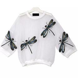 Блуза со стрекозами, черная и белая.
