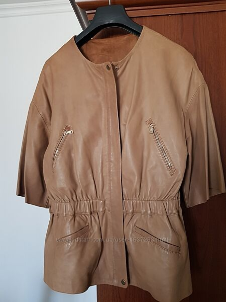 Летняя кожаная куртка massimo dutti