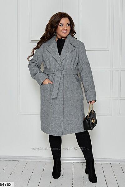 Женское кашемировое пальто с подкладкой. Размеры с 48 по 62