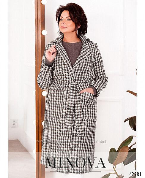 Элегантное пальто батал с подкладкой, без застёжек, по бокам - накладные ка