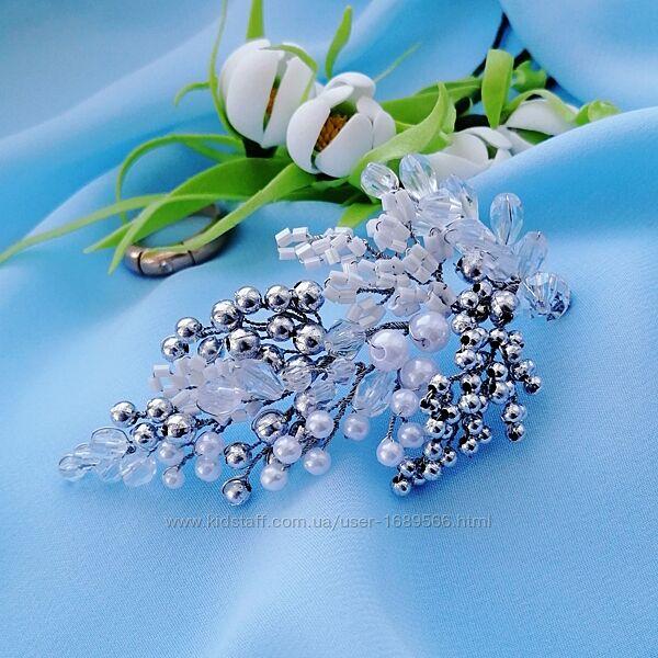 Свадебная веточка для волос из бусин, украшения для невесты