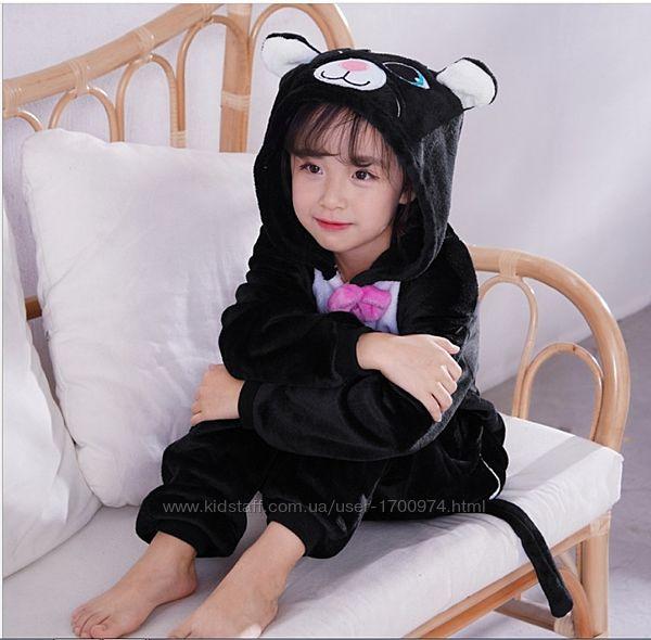 Кигуруми черная кошка / Пижама Черный кот / Кігурумі кішка / піжама котик