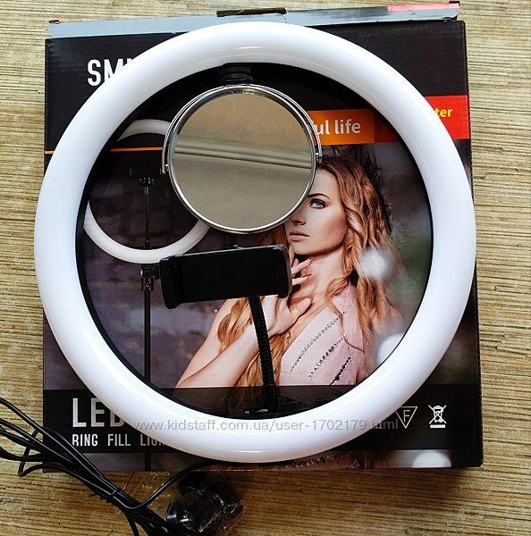 Профессиональная кольцевая LED лампа SMN-12 диаметр 30 см  с зеркалом, USB