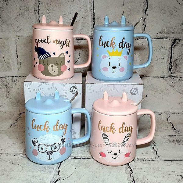 Чашка керамическая Котик, кружка с крышкой и ложкой, 400 мл
