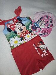 Набор для купания на девочку 2-5 лет Минни Маус плавки, кофта, кепка Дисней