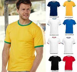 Мужская футболка с окантовкой Двухцветная Хлопок Fruit of the loom Ringer