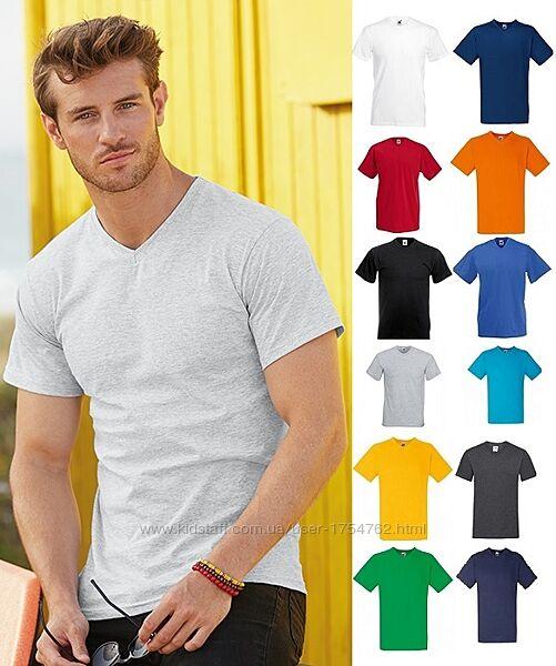Мужская футболка с V-вырезом 100 ХЛОПОК Fruit of the loom