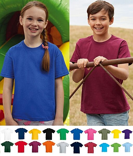 Детская футболка Тонкая ХЛОПОК 145 гм2 Легкая Унисекс Fruit of the Loom