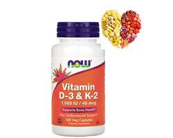 Now Foods, витамин D3  K2, 1000 МЕ, 120 вегетарианских капсул