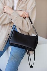 Женская черная сумка багет наплечная сумка черный клатч багет кросс боди