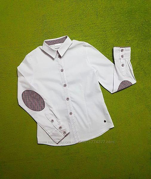 Рубашка блузка белая со вставками шотландка на девочку 134-140 см, Remix