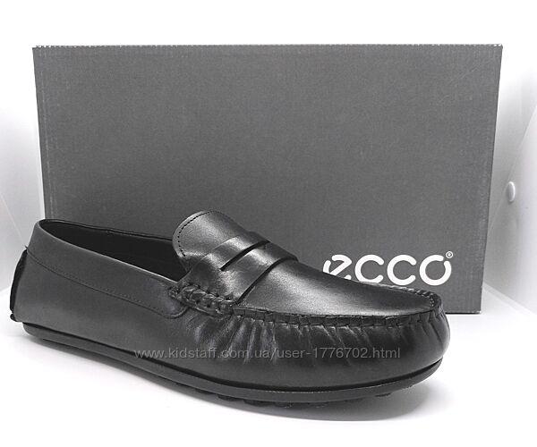 Стильные полностью кожаные мокасины полуботинки туфли Ecco оригинал