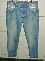 Модные джинсы зауженные на широкие бедра xl 14р. 31-32р. коттон