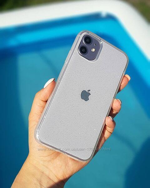 Прозрачный чехол с блестками iphone