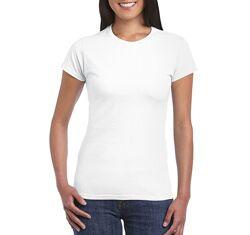 Женская базовая белая хлопковая футболка Gildan Softstyle 64000L-000C