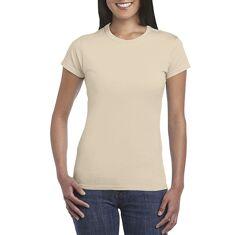 Женская базовая бежевая хлопковая футболка Gildan SoftStyle 64000L-7528C