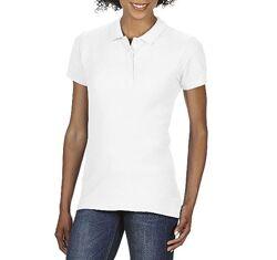 Женская хлопковая белая футболка-поло Gildan SoftStyle 64800L-000C